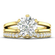 1.19ct D-si1 Diamond Split Shank Engagement Ring 18k Yellow Gold Any Size