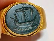 Roman Christian Ring With Intaglio -saint Peter The Fishermen 2nd4th Century Ad