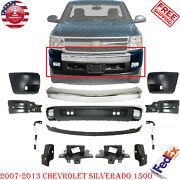 Front Bumper Chrome Steel Kit With Brackets For 2007-2013 Chevy Silverado 1500