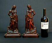 Fine Pair Antique Carved Wood Medieval Maidens From French Chateau Estate Sale