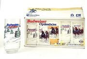 Anheuser-busch Inc. Budweiser Clydesdales Glassware Set Of 8 16oz Coolers