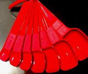 Tupperware New Usa Vintage Red Measuring Spoons Set With D Ring Clip Ultra Rare