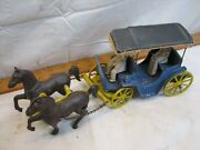 Antique Stanley Toys Cast Iron Horse And Aluminum Wagon Buggy Carriage Toy