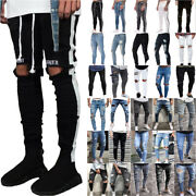 Men Skinny Ripped Jeans Pant Denim Distressed Slim Bottoms Destroyed Trousers Us