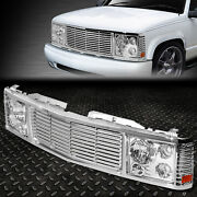 For 94-00 Chevy Gmc C/k 1500-3500 Chrome Rover Grille/headlights Conversion Kit