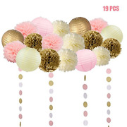 19 Pcs Pink And Gold Tissue Paper Flowers Pom Poms Lanterns And Garland For Baby