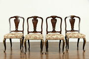 Set Of 4 Italian Antique Walnut Game Or Dining Chairs Inlaid Marquetry 36499