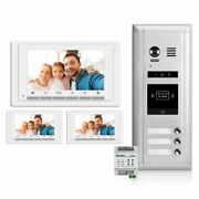 Video Intercom Entry System Dk1731s - 3 Apartment Audio/video Kit With 3 Inside