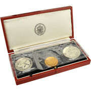 3pc 1974 Iceland Gold And Silver Settlement Anniversary Commem Proof Set W/ogp Coa
