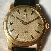Vintage Omega Seamaster 18k Solid Gold Waffle Dial Cal.342 Menand039s Watch Rare