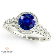 1.35 Ct. Natural Blue Sapphire Ring With 0.35 Ctw. Diamond 18k White Gold