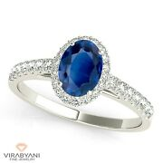 1.51 Ct. Natural Blue Oval Sapphire Ring With 0.25 Ctw. Diamond 18k White Gold