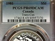1981 Silver Pcgs Pr69dcam Canada Dollar S1-rare Gold Ring Tone