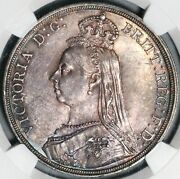 1887 Ngc Ms 63 Victoria Crown Great Britain Silver St. George Coin 21022103c