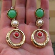 Antique Style Big Chrysopace Pearl Coral Drop Earrings Carved Made In Italy