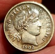 1902 S Barber Dime Au+++ Details Cleaned. Tough Date