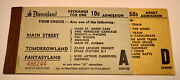 Vintage Walt Disney Rare 1956 Disneyland Ride Ticket Book With 2 Tickets A And D