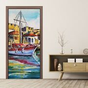 Peel And Stick Door Sticker Decal Wrap Home Decor Landscape With Boat In Harbor