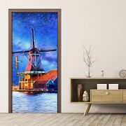 Removable Door Sticker Decal Art Painting Wind Mill Farm Water Sky Building