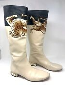 Pam Napa Leather Tiger-embroidered Tall Boot Size 39