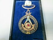 Antique 10k Gold Turquoise And Ruby Jeweled Masonic Pin