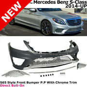 W222 S63 Amg Style Front End Fascia Kit For Mercedes S Class 14-17 Chrome Trim