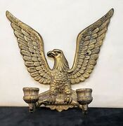 1950s Solid Brass 8 Open-winged Eagle Sconce Dual Candle Holder - Vintage Euc