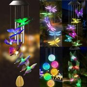Color Changing Solar Wind Chimes Lights Led Hanging Hummingbird Ball Garden Lamp
