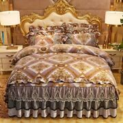 2020top Crystal Velvet Four-piece Lace Quilt Cover Bed Skirt Bedding Wedding Kit