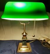 Rare Bankers Desk Lamp Green Glass Shade Marble Base. Brass 2007