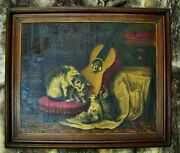 Vintage Victorian Painting Dated Signed 1890 Kitty Cats Guitar Oil On Canvas
