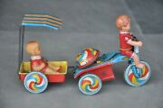 Rare Vintage Windup Tricycle Buggee Litho Tin Toy, Japan