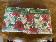 New Lot Of Two 60andrdquo X 102andrdquo Vinyl Holiday Tablecloths Poinsettias