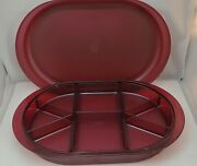 Vtg Tupperware Cranberry Preludio Oval Sectioned Relish Tray W Lid Never Used