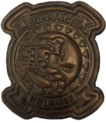 4.75 Marine Corps Hmla-367 Scarface Helicopter Squad Antique Look Leather Patch