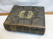 Antique Illustrated Pictorial Leather Bound Family Bible 1883 Johnston Weaver