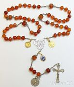 1903 Catholic Rosary Faceted Gold Baltic Amber, Sterling 18k Gold Medals Unique