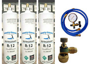 Refrigerant 12, R12, Three 28 Oz Cans Pro On/off/flow Control, Gauge Set And Hoses