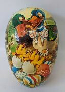 Vintage Germany Lg. 9 Paper Mache Easter Egg Candy Container W/ Ducks And Chicks
