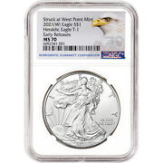 2021 W American Silver Eagle - Ngc Ms70 - Early Releases - Grade 70
