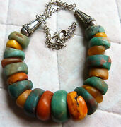 Antique Moroccan Natural Amber Necklace 121 G With Ancient Amazonite Beads