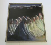 Vintage James Osorio Painting 40 Inches Iconic Religious Portrait 1970and039s Realism