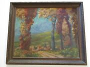 Large Antique American Oil Painting Regionalism Landscape Pennsylvania Listed