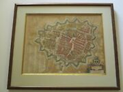 Antique Map Of Groningen By J. Blaeu 16th To 17th Century Hand Colored Rare Old