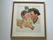 Lucky Lager Been Painting 1950's Rare Portrait Painting Vintage Americana Listed