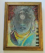 Vintage Oil Painting Mystery Artist 1960and039s Expressionist Buddha Head Abstract