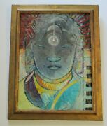 Vintage Oil Painting Mystery Artist 1960's Expressionist Buddha Head Abstract