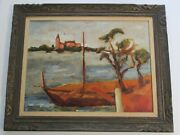 Large French Russian Coastal Nautical Oil Painting Mystery Impressionist Beach