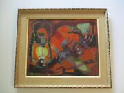 Masterful Oil Painting Cubist Expressionist Modernist Modernism Mid Century Rare