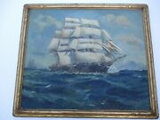 Antique Large Oil Painting Nautical Ships Sea Ben Wells Listed Carved Frame Old